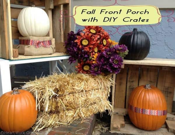 fall front porch decor vignette