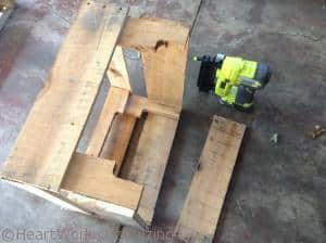 use nailer to add scrap slats to sides