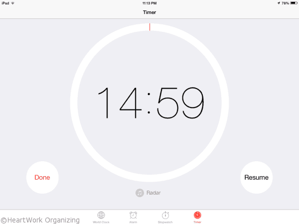 15 minute timer for organizing