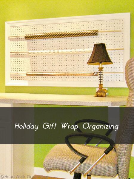 how to organize holiday gift wrap