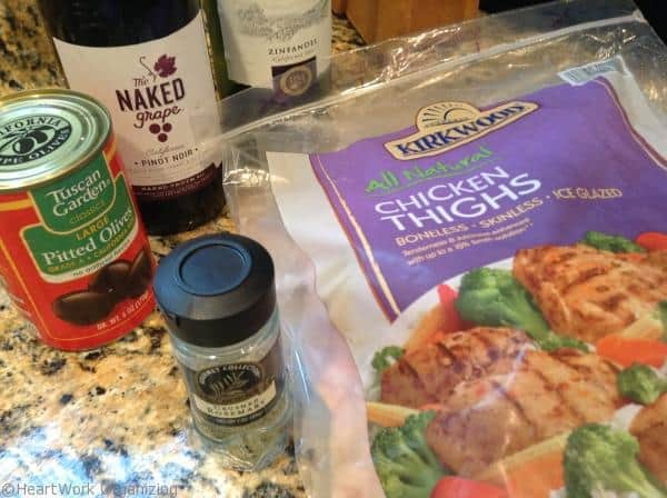 ingredients for chicken with wine and olives