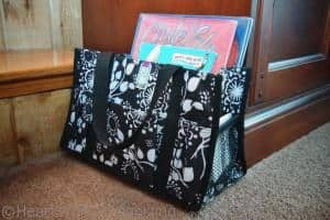 tote to keep library books organized at home