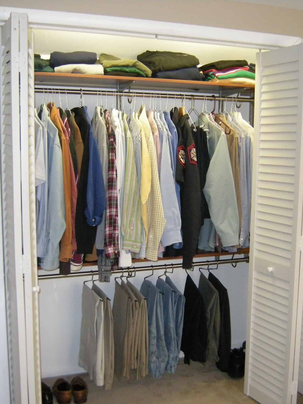 Master Bedroom Closet Organized With Pants Hangers