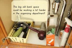 make best use of space under bathroom sinks