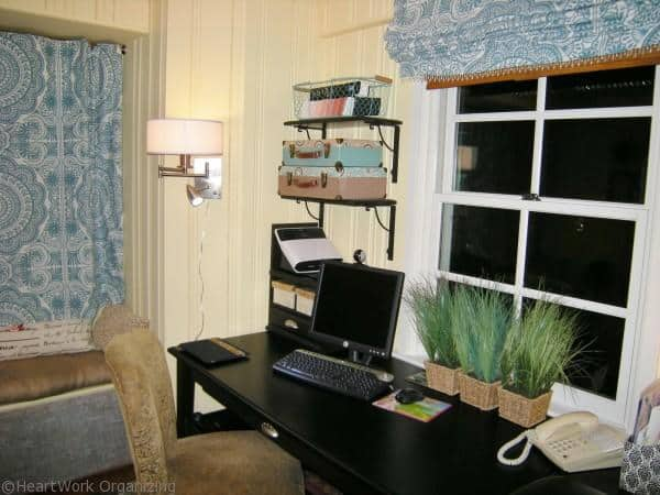 organizing lamp cord in home office