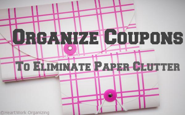 organize coupons to reduce paper clutter