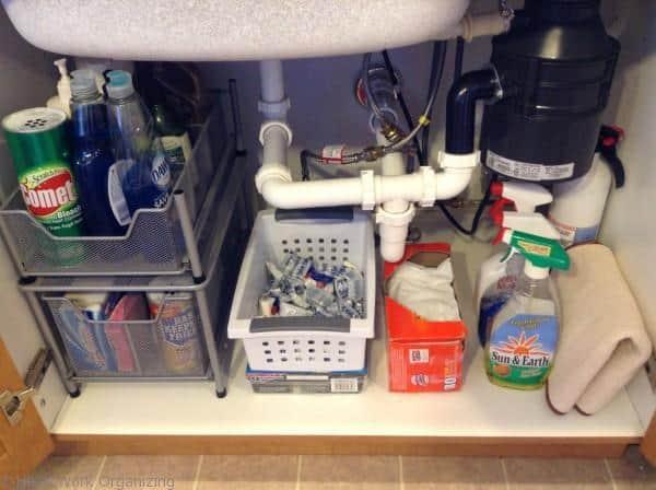organize under kitchen sink- after