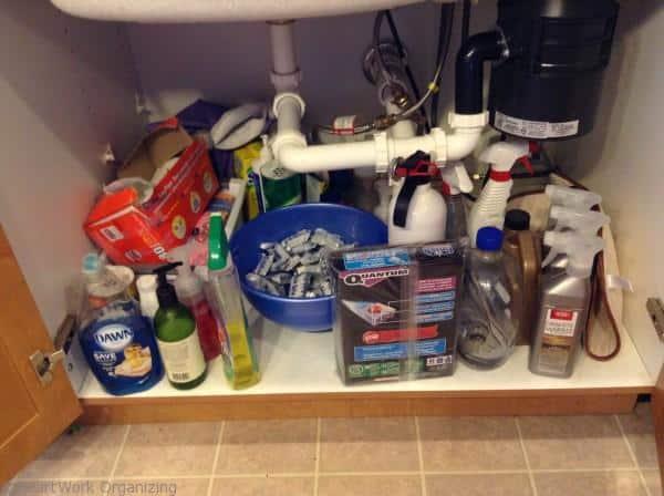 organize under kitchen sink- before
