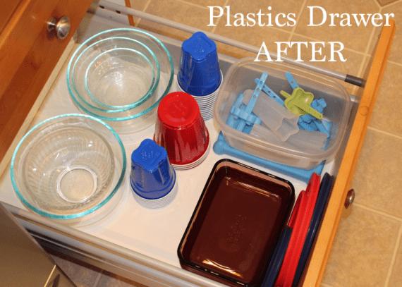 organize the plastics drawer in the kitchen