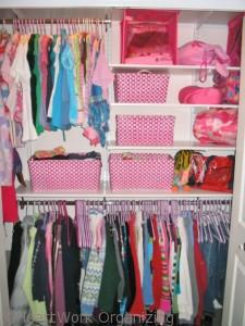 teen closet makeover with purple hangers