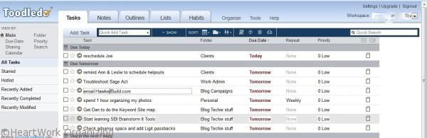 organizing a to-do list using Toodledo