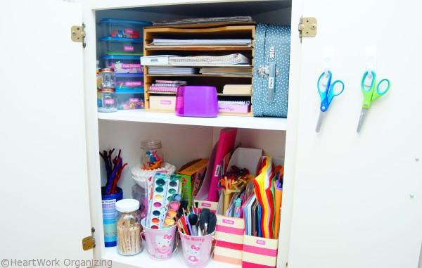 organize scissors in the craft cabinet