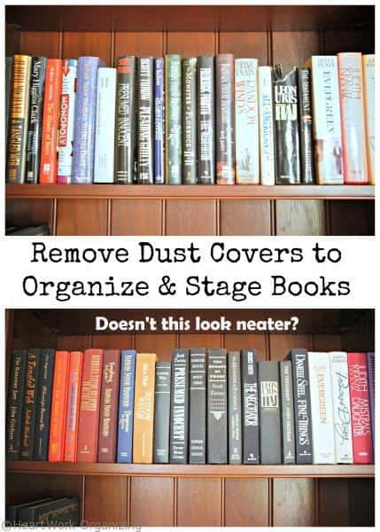 staging tip for books, organize and stage