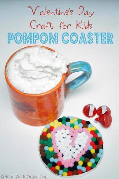Valentine's Day Craft for Kids- Pompom coaster
