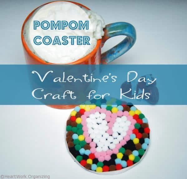 Valentine's Day Craft- pompom coaster