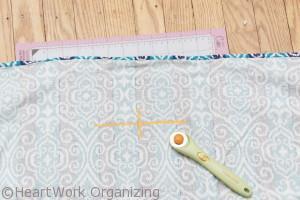 marking handle openings in DIY basket liner