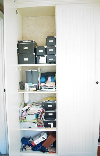 home office in a closet before organizing