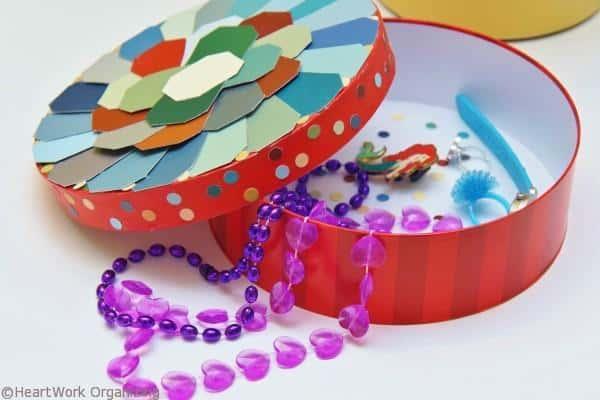 Paint Chip DIY Jewel Box Craft organizes jewelry