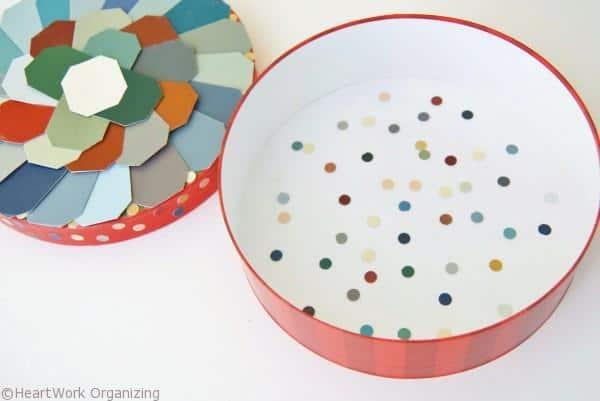 inside view of Paint Chip DIY Jewel Box Craft