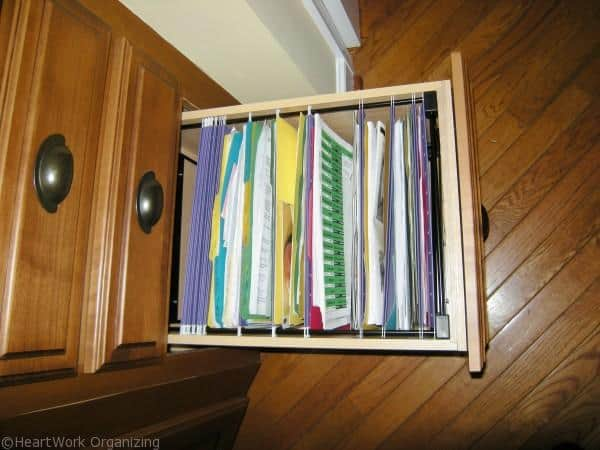store files in your kitchen with a file drawer insert