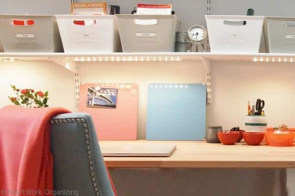 use bins to create office storage on shelves