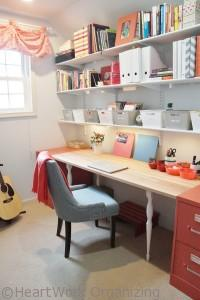 home office makeover in coral- after