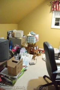home office needs decluttering