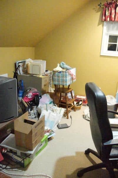 home office needs decluttering