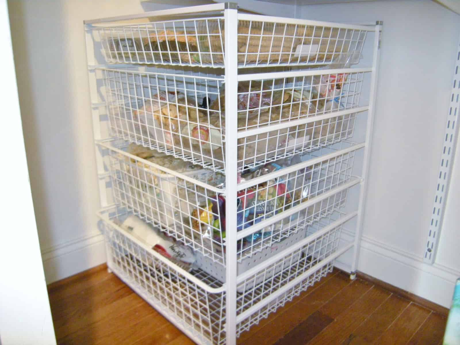 Wire Baskets Keep Pantry Shelves Tidy