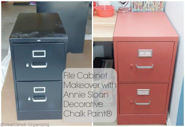 Painted File cabinet -Home Office Makeover in Coral and Blue
