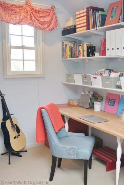 Home Office Makeover in Coral and Blue reveal