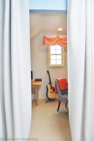 Curtain seprarate the Home Office Makeover in Coral and Blue
