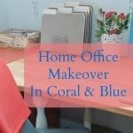 Home Office Makeover in Coral and Blue