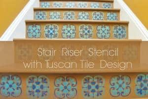 Tuscan tile stencil design on stairs title