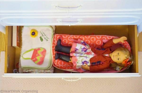 Big girl room makeover, storing American Girl doll