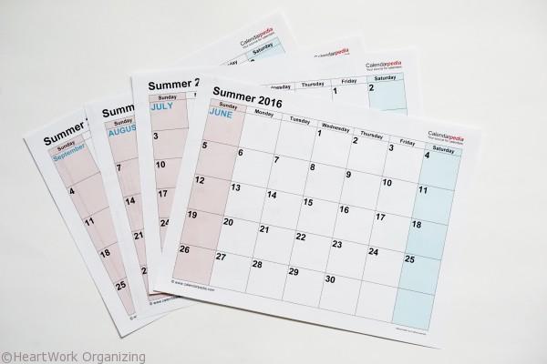 2016 summer calendar free printable
