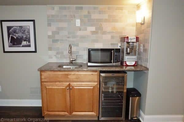 basement makeover kitchenette