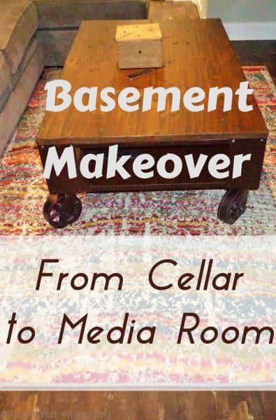 basement makeover pinnable image