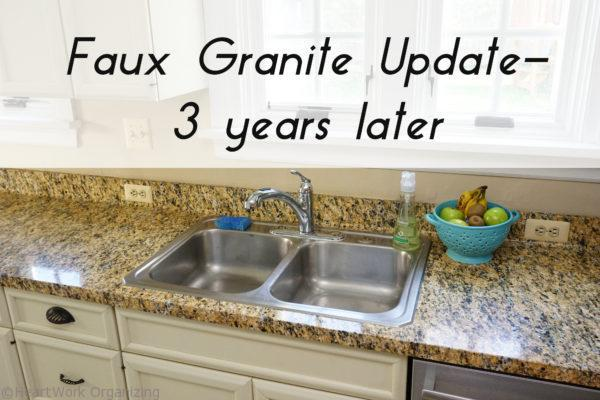 Instant Granite Installation : Faux granite counter update years later heartwork