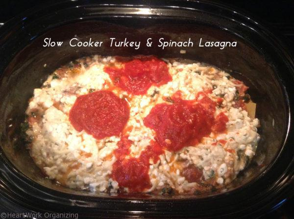 Slow Cooker Turkey & Spinach Lasagna