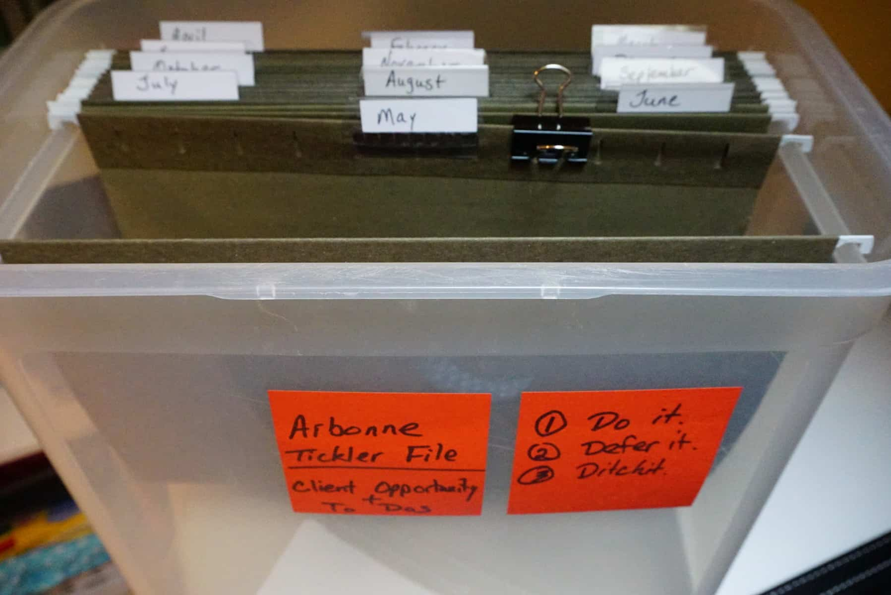 tickler file to organize home office