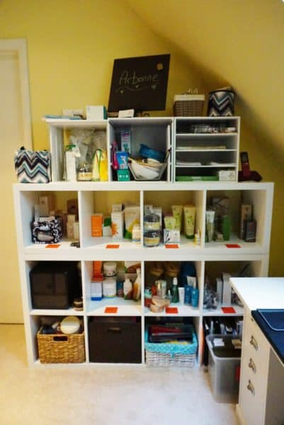 storing arbonne product in organized home office