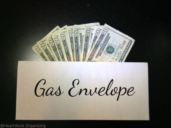 envelope system for gas money