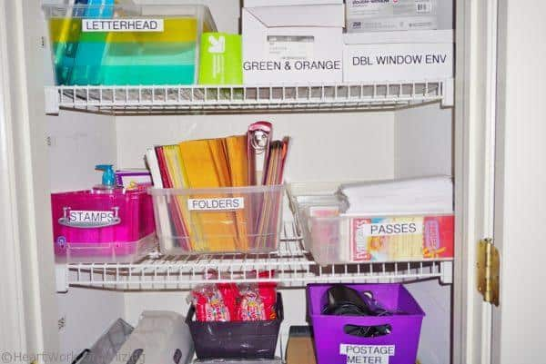 labels for storage closet in home office