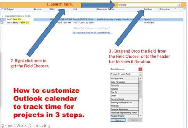 How to Customize Outlook calendar to track time