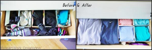 storing workout clothes