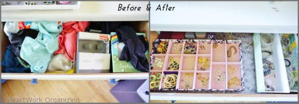 organizing the jewelry drawer