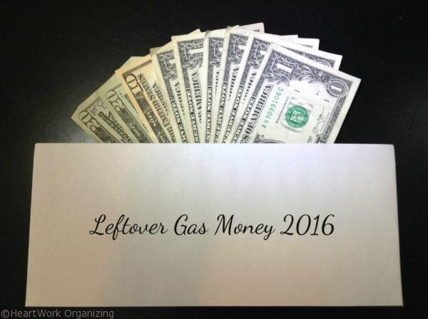 envelope system for gas money, leftover savings