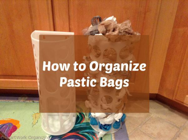 Organize plastic grocery bags in a kitchen