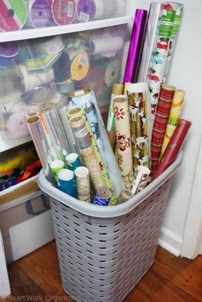 organizing gift wrap paper